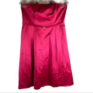 Michaelangelo Plus Size Burgundy Strapless Dress
